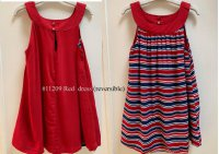 #11209 size : 3-4/5-6/7-8yrs 100% viscose red dress , reversible , stripe dress