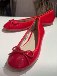 #13565 (above: 7-11yrs) Red color bow shoes