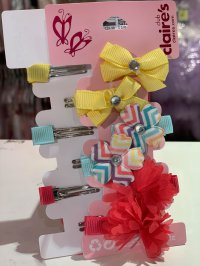 #11013 Rhinestones Ribbon hair clip 6pcs set