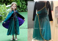 #13334 size: 2-3/4-5/6-7/8-9/10-11yrs Dark green and black color princess dress with 1 layer mesh and cape set