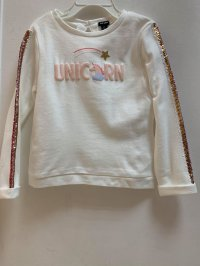 #13060 size: 4/6/8/10/12yrs 100% cotton offwhite unicorn 3D printing long sleeves top