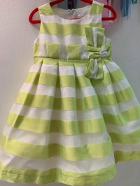 #10558 size:2/3yrs Green stripe mesh party dress with inner mesh skirt