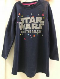#10029 size: 5-6/7-8/8-9/9-10/10-11yrs) StarWar deep 60% cotton blue french terry dress
