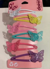 #12464 White /yellow /pink /green /purple color butterfly pattern 6 hair clips set