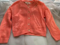 #10403 Size for 2-3/3-4/12-13yrs Powder orange color flower knitted cardigan