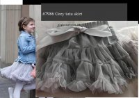 #7986 size : 1-2/7-8yrs Grey Tutu Skirt