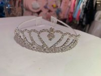 #12623 White color heart pattern rhinestones crown