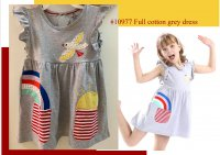 #10977 size: 2-3/3-4/5-6/6-7/7-8/11-12yrs Full cotton grey color applique embroider, bird and rainbow pattern dress