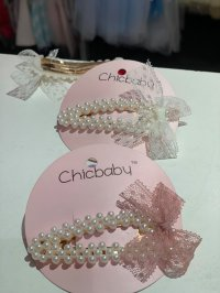 #11554 Offwhite/pink Ribbon Hair Clip with Pearl