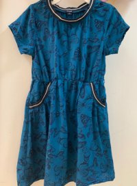 #11039 Size: 4/6/8/10yrs Full cotton dark blue color butterfly pattern dress
