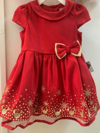 #12967 Size: 9-12/12-18/18-24M/2/4/5-6/7-8/9-10yrs Red color Minnie pattern party dress with 3 layer mesh