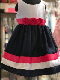 #8175 size2/3yrs navy & white dress