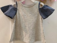 #12959 Size:2/3/4-5/6-7/8/10/12/14/16yrs Grey color denim sleeves top