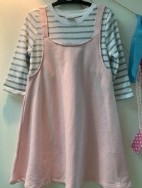 #13219 size :4/5-6/7-8/10-12/14yrs Pink color white and grey stripes dress
