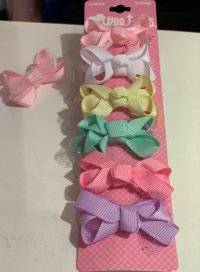 #12468 Pink /white /yellow /green /purple color bow 6 hair clips