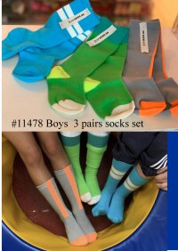 #11478 size: S/M/L Sky blue x Green x Gray Boys' Long socks