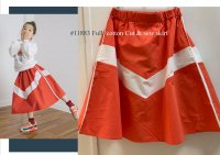 #11883 size: 7-8/8-9/9-10/10-11yrs Full cotton orange color cut and sew skirt