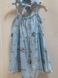 #12600 size :3/4/5/12yrs Powder blue color flower pattern dress with hairband