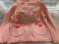#10373 Size for 3-4/4-5/5-6/7-8yrs Powder orange color flower knitted cardigan