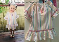 #11271 Size 4/5/6/8/10 yrs Full cotton candy colors stripe dress