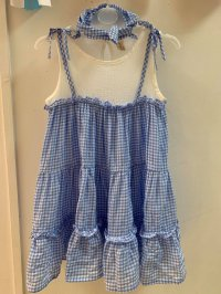 #10997 size : 3-4/4-5 yrs 100% cotton wrinkle blue checkers dress - with hairband