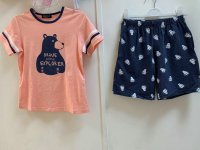 #12846 Size: 4-5/6-7/7-8yrs 94%cotton 6%polyurethane pink bear pattern top and short set