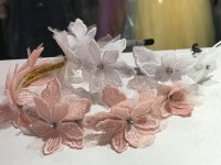 #10001 offhite / pink lace + rhinestones flowers hair band