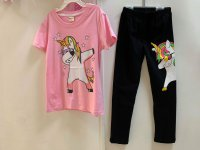 #12729 size 8-9/10-11yrs Full cotton pink color unicorn pattern tee+long pant set