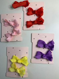 #13043 Pink/Yellow /purple /red color bow 2 hair clip