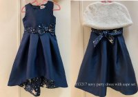 #13217 size: 6/7/8/10yrs Navy party dress with cape set