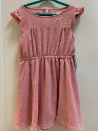 #12697 size: 4/6/8/10yrs Dirty pink color star pattern dress