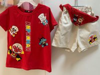 #12679 Size 4-5/5-6/6-7yrs anpanman pattern red color Top +khaki shorts +belt bag set