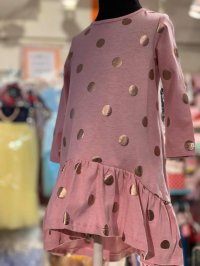 #10468 size:1/2/3yrs Pink color polka dot dress