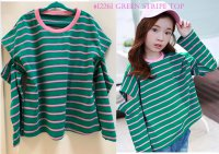 #12261 size 5-6/6-7/7-8/8-9/9-10yrs Full cotton green color stripe pattern top