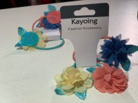 #9976 flower hair elastic band 3pc set