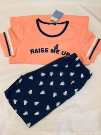#12867 size: 11-12/12-13/14-16yrs pink bear pattern top and short set