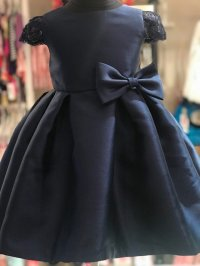 #9260 size: 4 yrs Navy satin Bow party dress