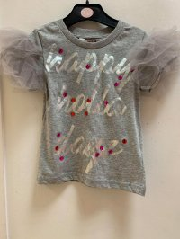 #12646 Size:2-3/4-5yrs Grey color letter printing mesh Top