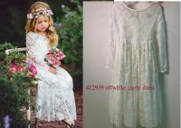 #12939 size :2-3/ 4-5/6-7/8-9/10-11yrs OFF WHITE LACE PARTY DRESS
