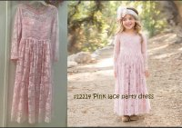 #12214 Size for 6-7/8-9/10-11/12-13yrs Pink color lace party dress