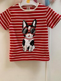 #12256 size:1/2/4yrs Red color stripe dog pattern top