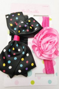 #9542 Pink flower + black polka dot bow headband