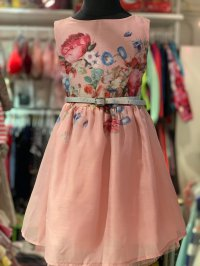 #11712 size:2/3/4/5/6yrs Dirty pink color flower pattern party dress with silver belt