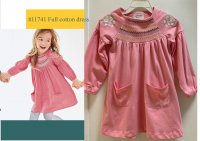 #11741 size4/5/6/7yrs100% cotton smocking & emb pink dress with 2 front pockets.