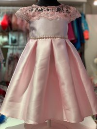 #11628 size : 6x/12/14/16yrs Pink color embroidered flower pattern party dress