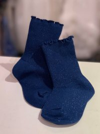 #12562 size: 2-3/4-6/7-9yrs Shiny deep blue short socks