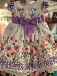 #12501 Size:12M/18M/2/7/12yrs Purple printing dress