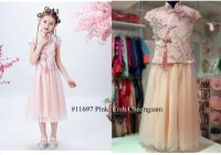 #11697 size:4-5/5-6/6-7/7-8/8-9 yrs Pink color emb cheongsam