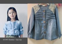 #11947 Size for 2-3/3-4/4-5/5-6/6-7yrs Blue color denims and lace top