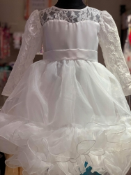 #10046 size : 12M/1-2/6-7yrs)off white party dress